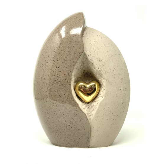 Ceramic Cremation Urn Heart in a Shell Red Grey