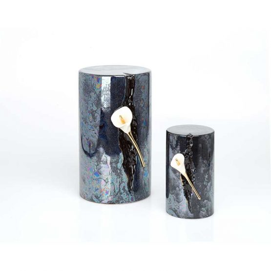 Ceramic Cremation Urn Lily in Statue Space Black