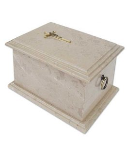 Stone Cremation Casket for Ashes in Grey with Cross Top