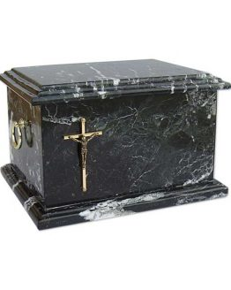 Stone Cremation Casket for Ashes Zebra Black Cross