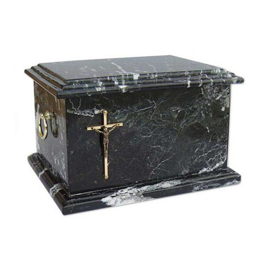 Stone Cremation Casket for Ashes Zebra Black Cross