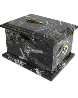 Stone Cremation Casket for Ashes Zebra Black Cross Top