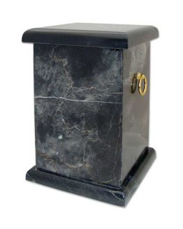 Black Stone Cremation Casket with Handles