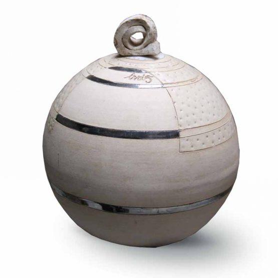 Modern Round Ceramic Urn For Ashes White