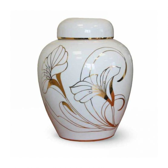 White Ceramic Cremation Urn Gold Painted Flower