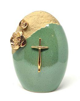 Ceramic Classic Urn with Cross Green