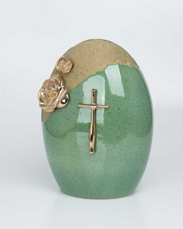 Ceramic Classic Urn with Cross Green