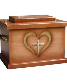 Wooden Cremation Casket Heart with Cross