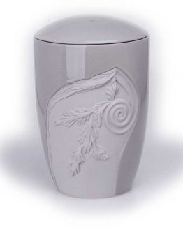 Ceramic Classic Cremation Urn with Decoration Grey