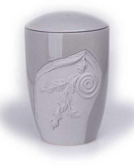 Ceramic Classic Cremation Urn with Decoration Grey