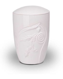Ceramic Classic Cremation Urn with Decoration
