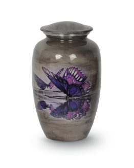Painted Butterflies Metal Urn for Ashes Grey