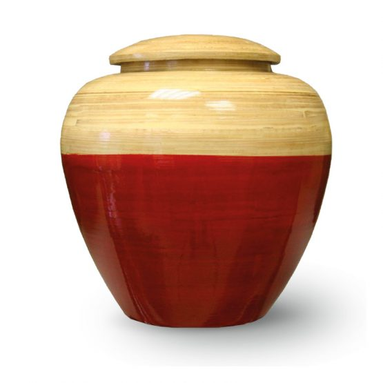 Bamboo Wood Cremation Urn Red