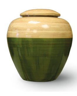 Bamboo Wood Cremation Urn Green