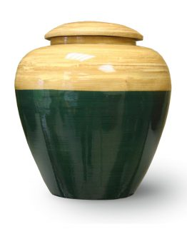 Bamboo Wood Cremation Urn Red Blue