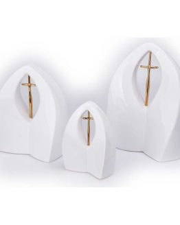 White Ceramic Cremation Urn for Ashes White Arch