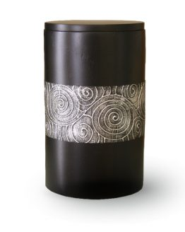 Mango Wood Cremation Urn Black with Motif