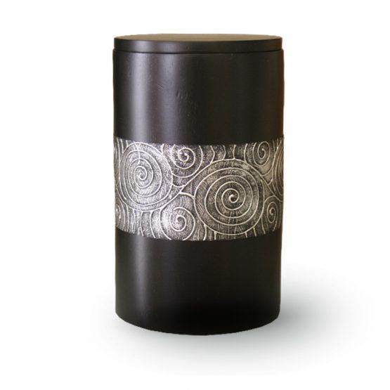 Mango Wood Cremation Urn Black with Motif