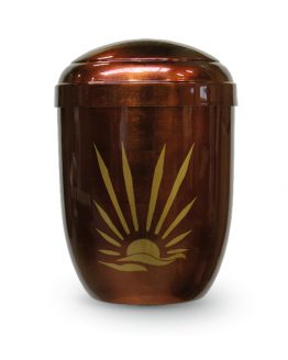Metal Urn for Ashes Sunrise Gold