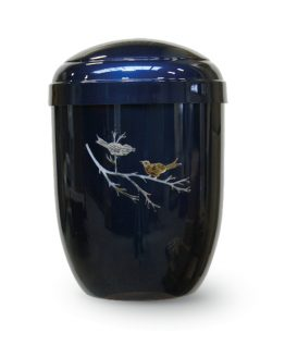 Metal Cremation Urn for Ashes Blue Birds