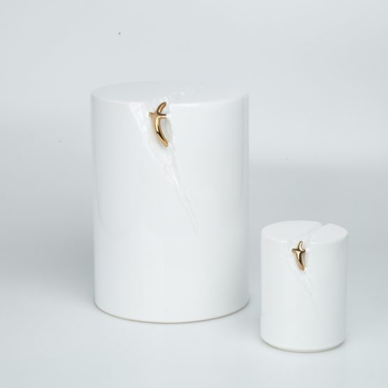White Ceramic Cremation Urn for Ashes Gold Cross