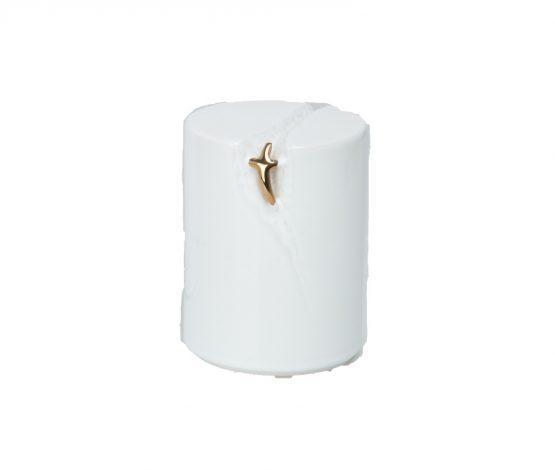 White Ceramic Mini Keepsake Urn Cross