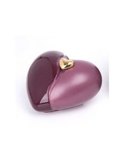 Ceramic Keepsake Urn in Love Heart Shape Burgundy