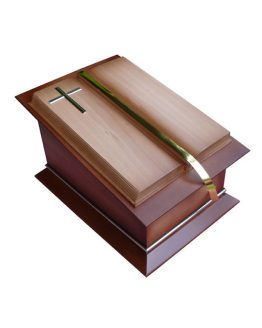 Solid Wooden Cremation Open Book Casket