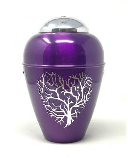 Metal Urn Tree Of Life Purple