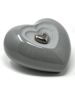 Ceramic Cremation Urn Heart with Keepsake Grey