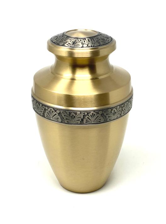 Brass Cremation Urn Carved Decoration Gold