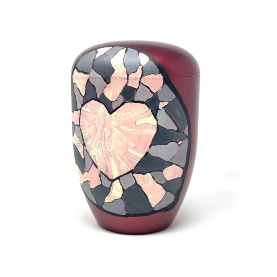 Unique Biodegradable Urn for Ashes Hand-painted Heart Decoration