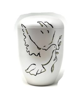 White Biodegradable Urn for Ashes Hand-painted Dove
