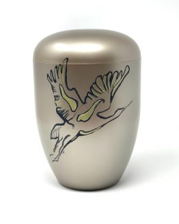 Unique Biodegradable Urn for Ashes Hand-painted Stork