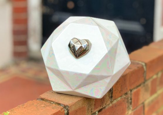 Exclusive Ceramic Cremation Urn for Ashes Diamond White