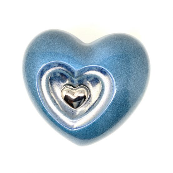 Ceramic Cremation Urn Heart with Magnetic Keepsake Blue