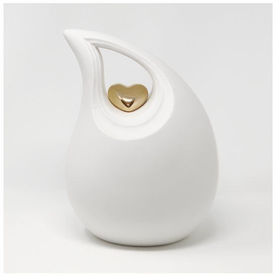 Ceramic Cremation Urn White Teardrop Heart