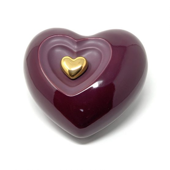 Ceramic Cremation Urn Heart with Magnetic Keepsake Burgundy