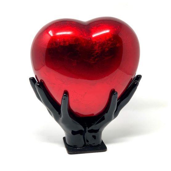 Comforting Hands Red Heart Cremation Urn for Ashes
