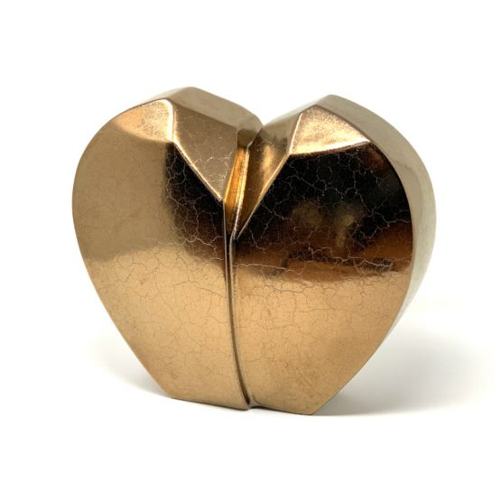 Ceramic Cremation Urn Modern Heart Gold