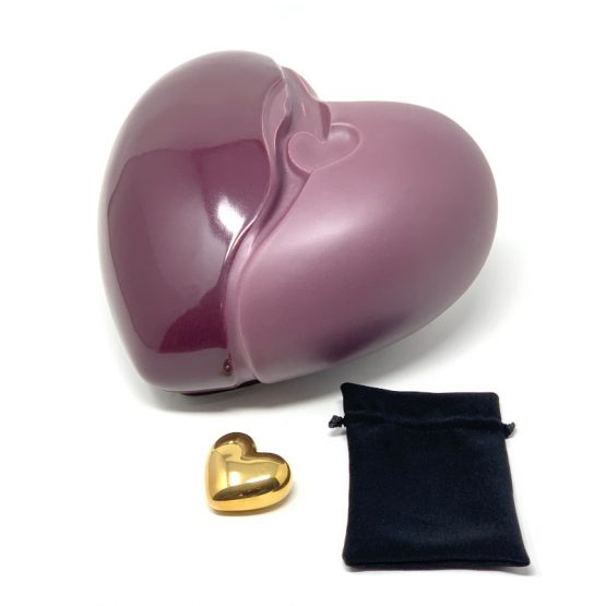 Ceramic Cremation Ashes Urn Heart Burgundy Magnetic Keepsake