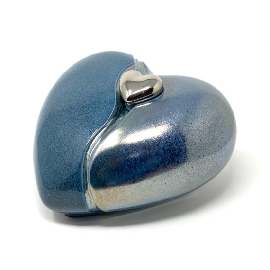 Ceramic Cremation Ashes Urn Love Heart Blue with Magnetic Keepsake