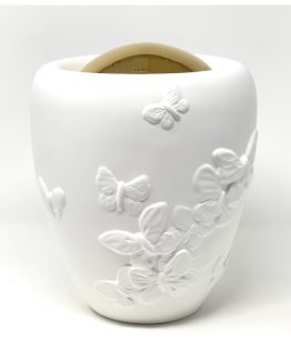 Unique Ceramic Cremation Urn For Ashes Butterflies White