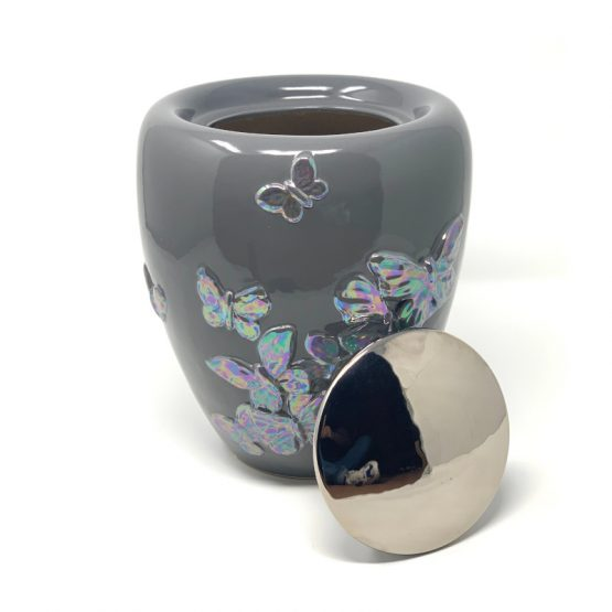 Unique Ceramic Cremation Urn For Ashes Butterflies Grey